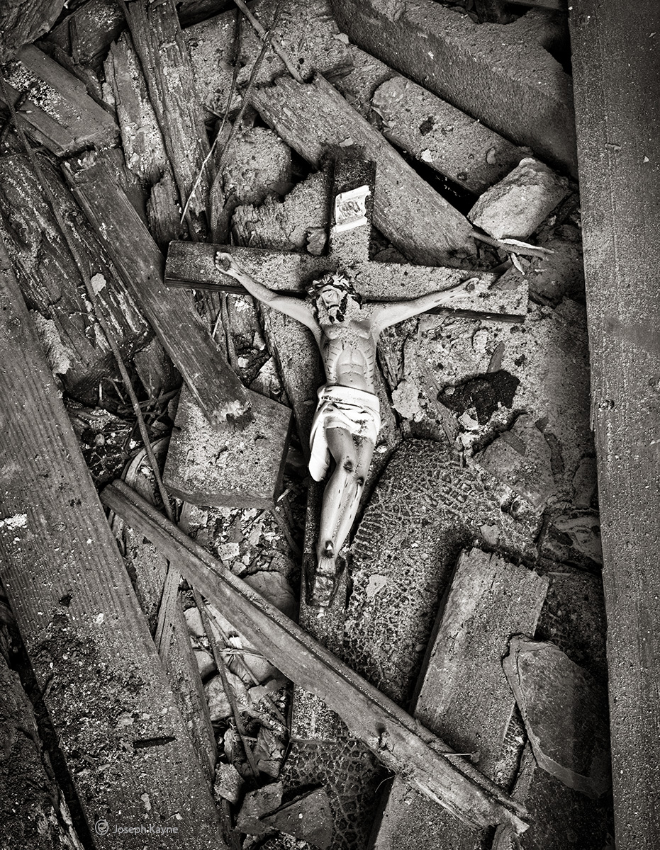 sacrafice,rubble, fallen,cross,abandoned,church,rust,belt, photo