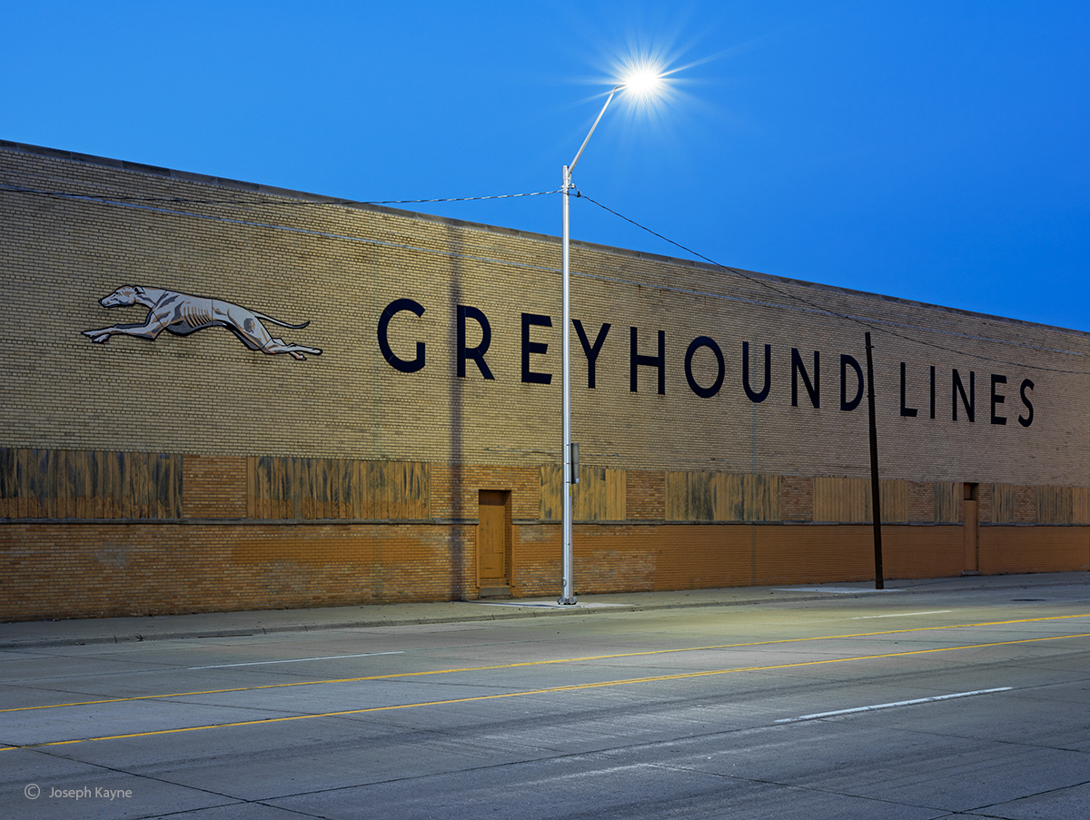old,school,greyhound,facility,night,motor,city, photo