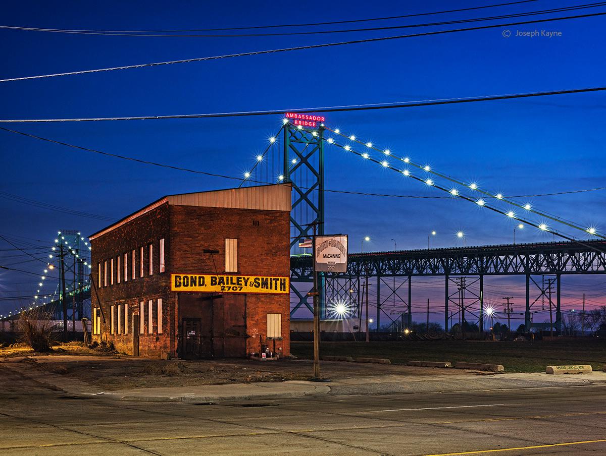 bridge,detroit,urban,landscape,night, photo
