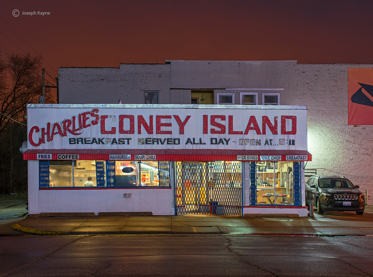 charlies,coney,island,rust,belt,urban,landscape,night, photo