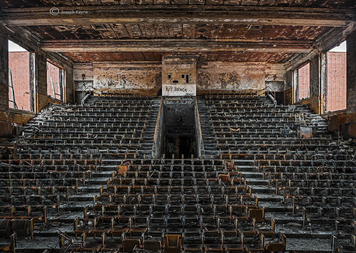 abandoned,high,school,auditorium,burnt,rust,belt, photo