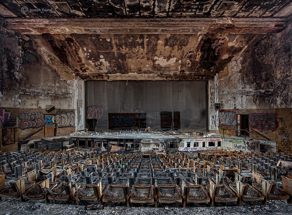 firestruck,abandoned,high,school,auditorium,rust,belt, photo