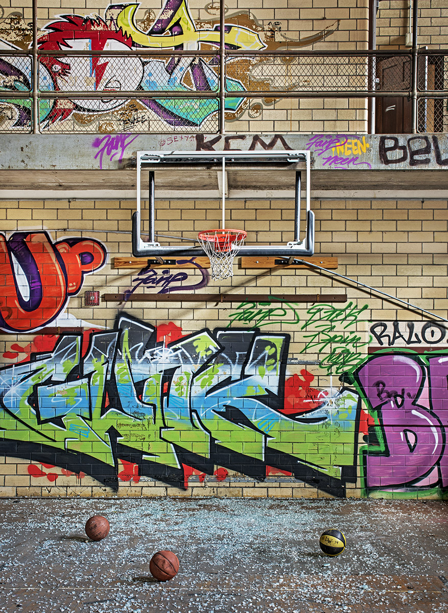 shattered,basketball,backboard,rust,belt, photo