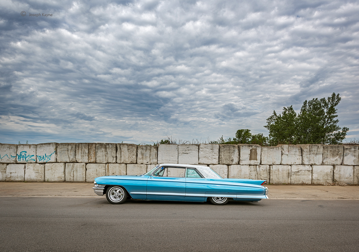 old,blue,cadillac,chicago,cars, photo