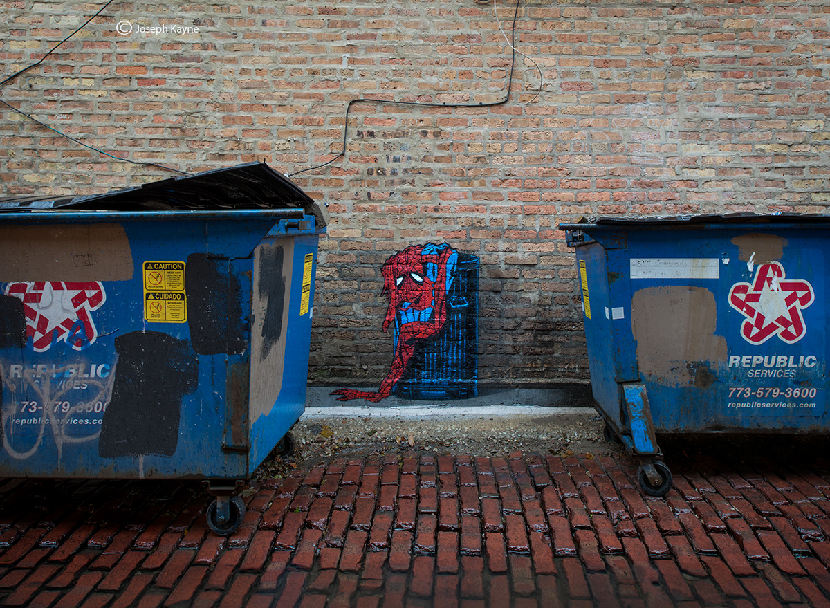 peter,parker,was,here,discarded,spiderman,suit,street,art,chicago,alley, photo