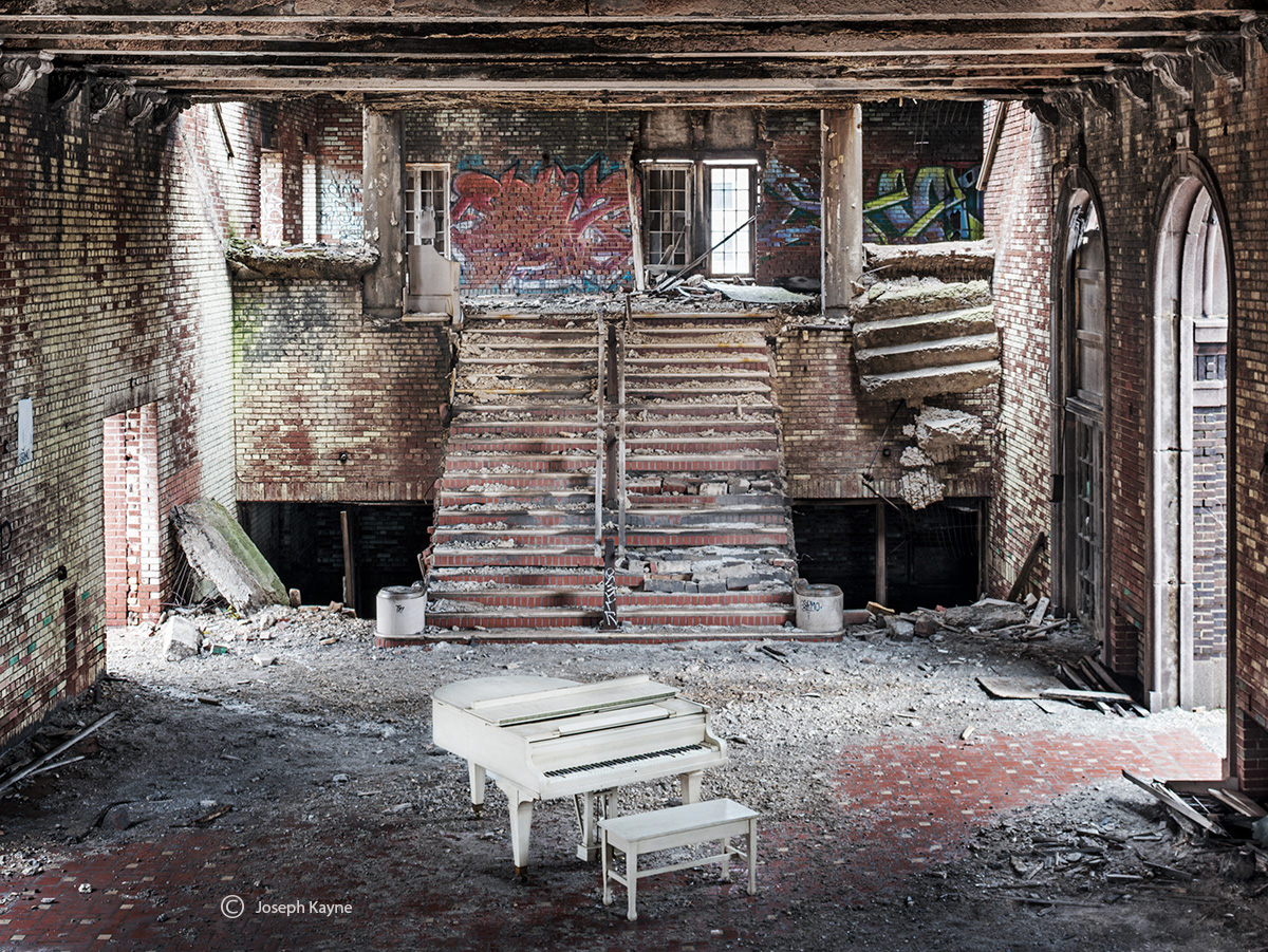 White Piano In An Abandoned Church