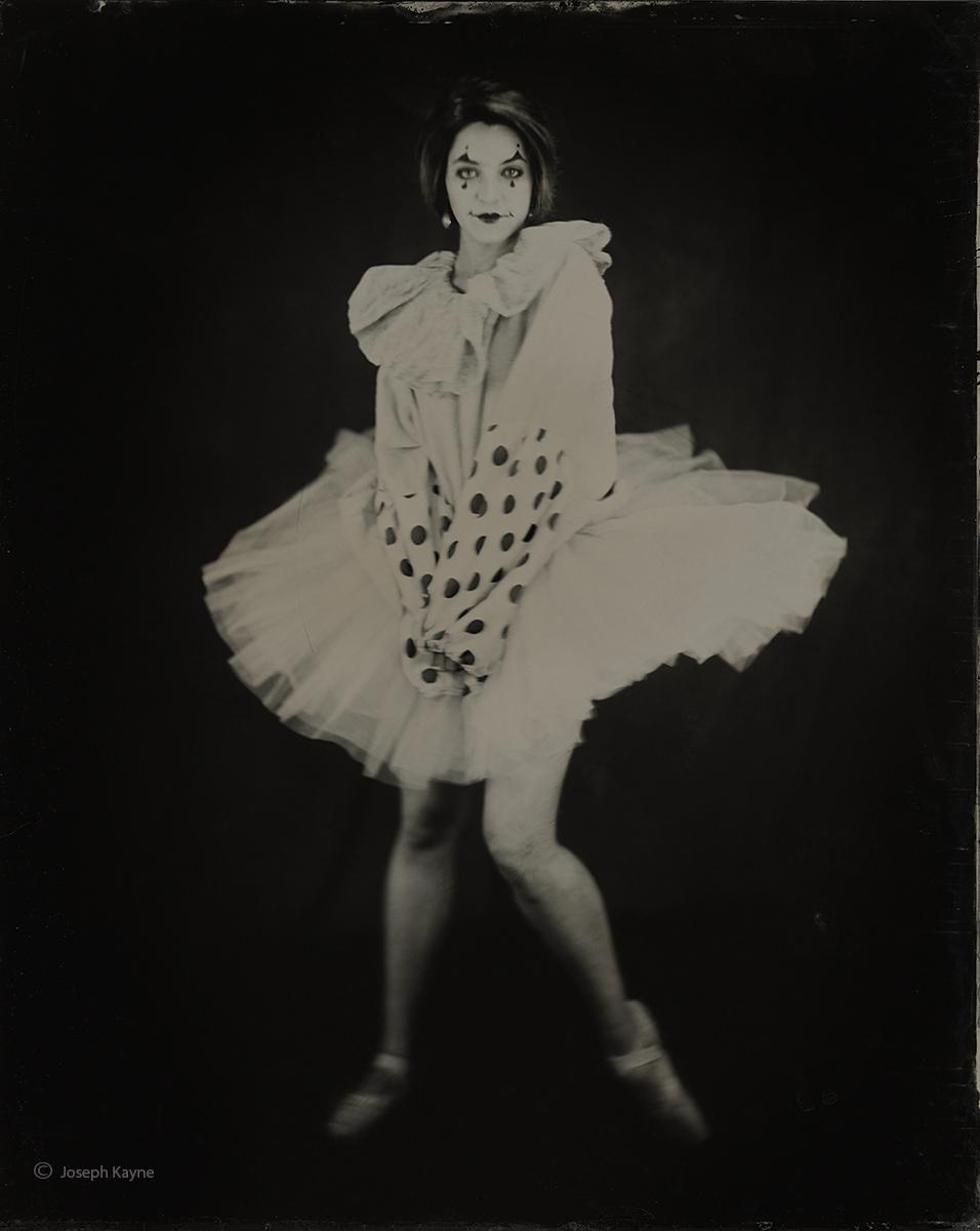 Ballerina In Antique Clown SuitWet Plate Collodion Tintype