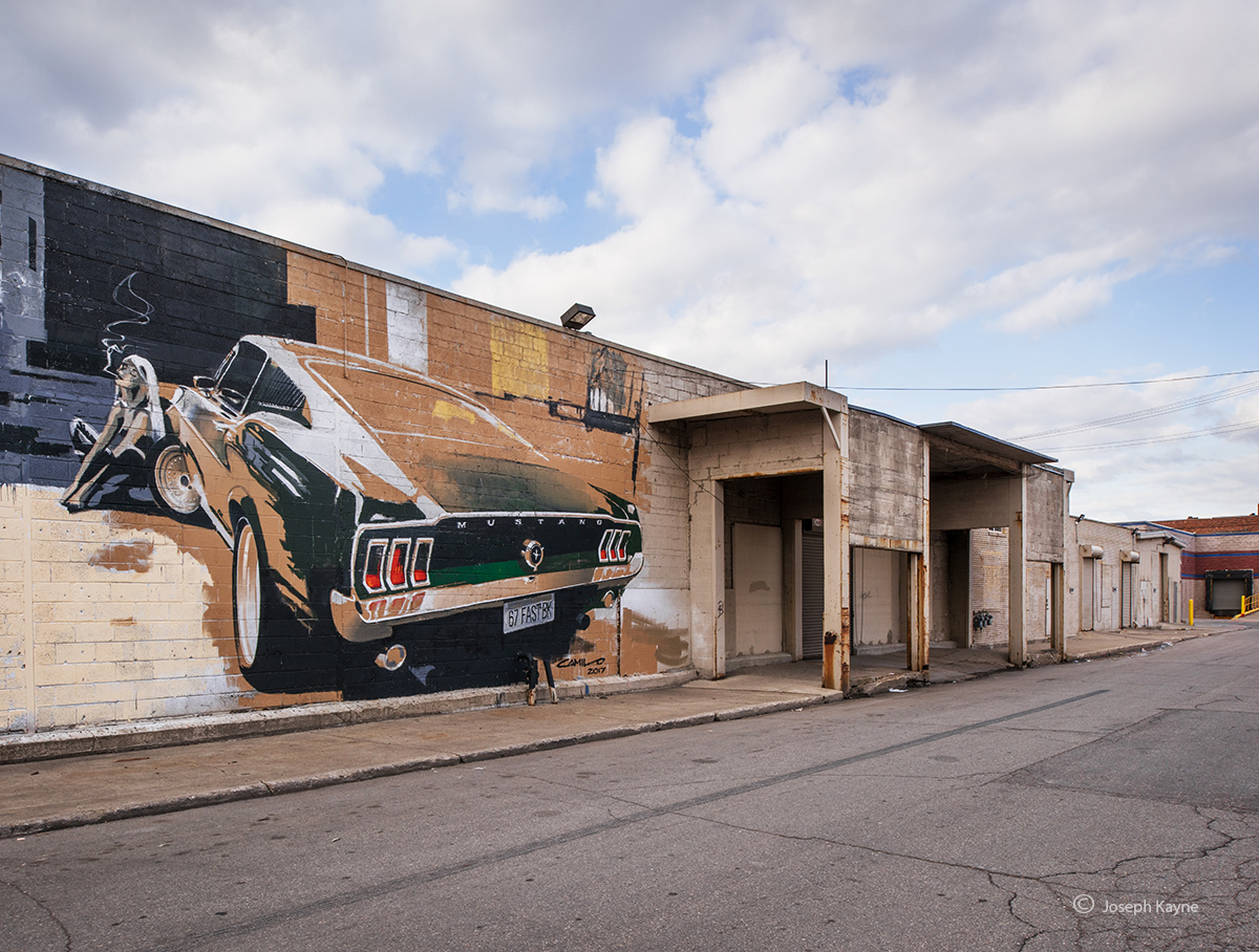 old,mustang,mural,detroit,motor,city,1967,fastback, photo