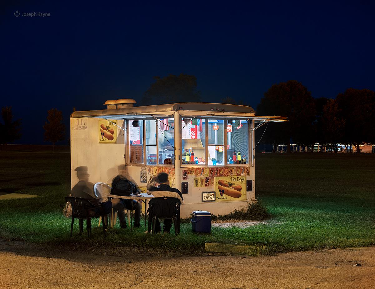 Hot Dog Stand At Night Along Lake Michigan