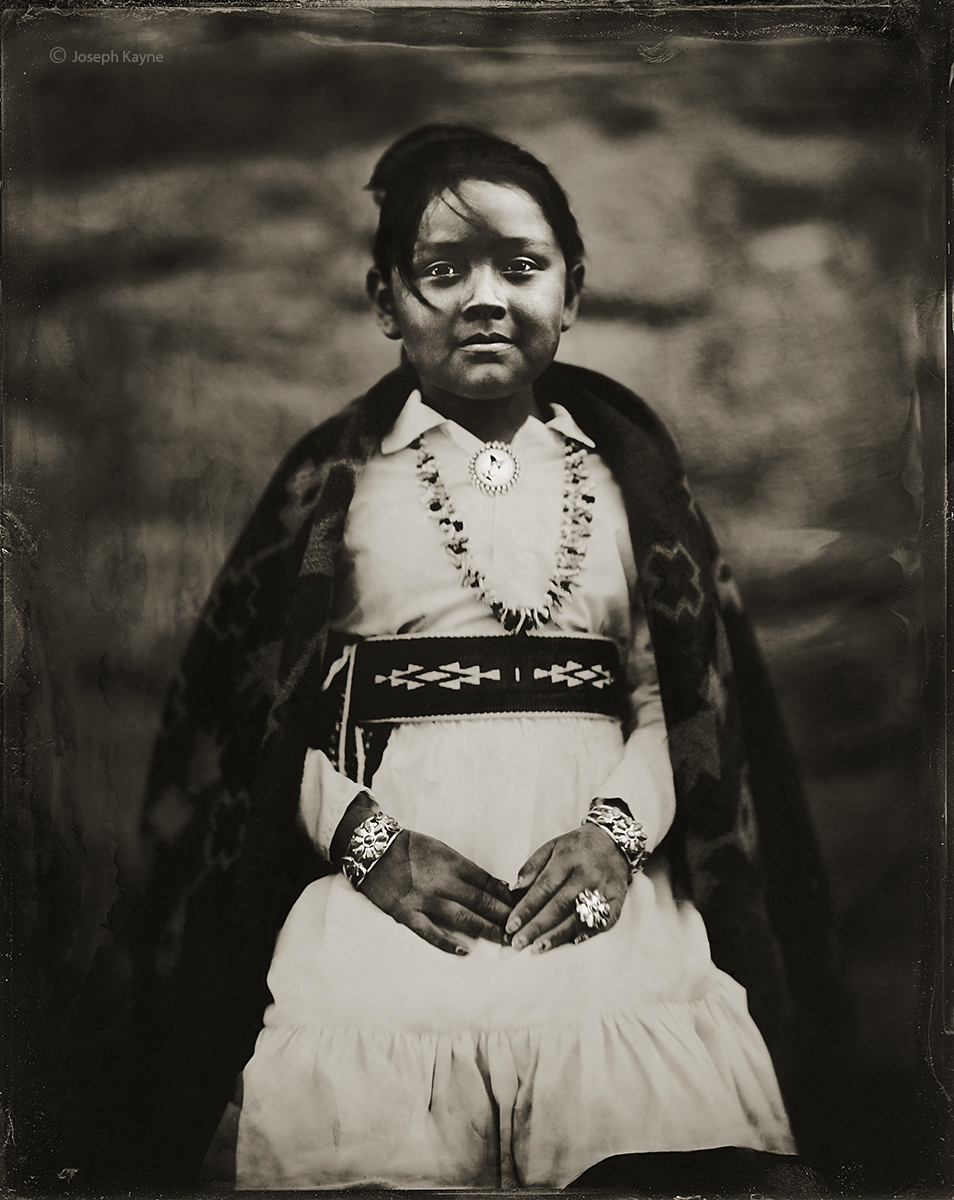 Tiana Rain Burbank, NavajoBorn To: Zuni ClanBorn For: Towering ClanWet Plate Collodion TintypePhoto © copyright by Joseph Kayne...