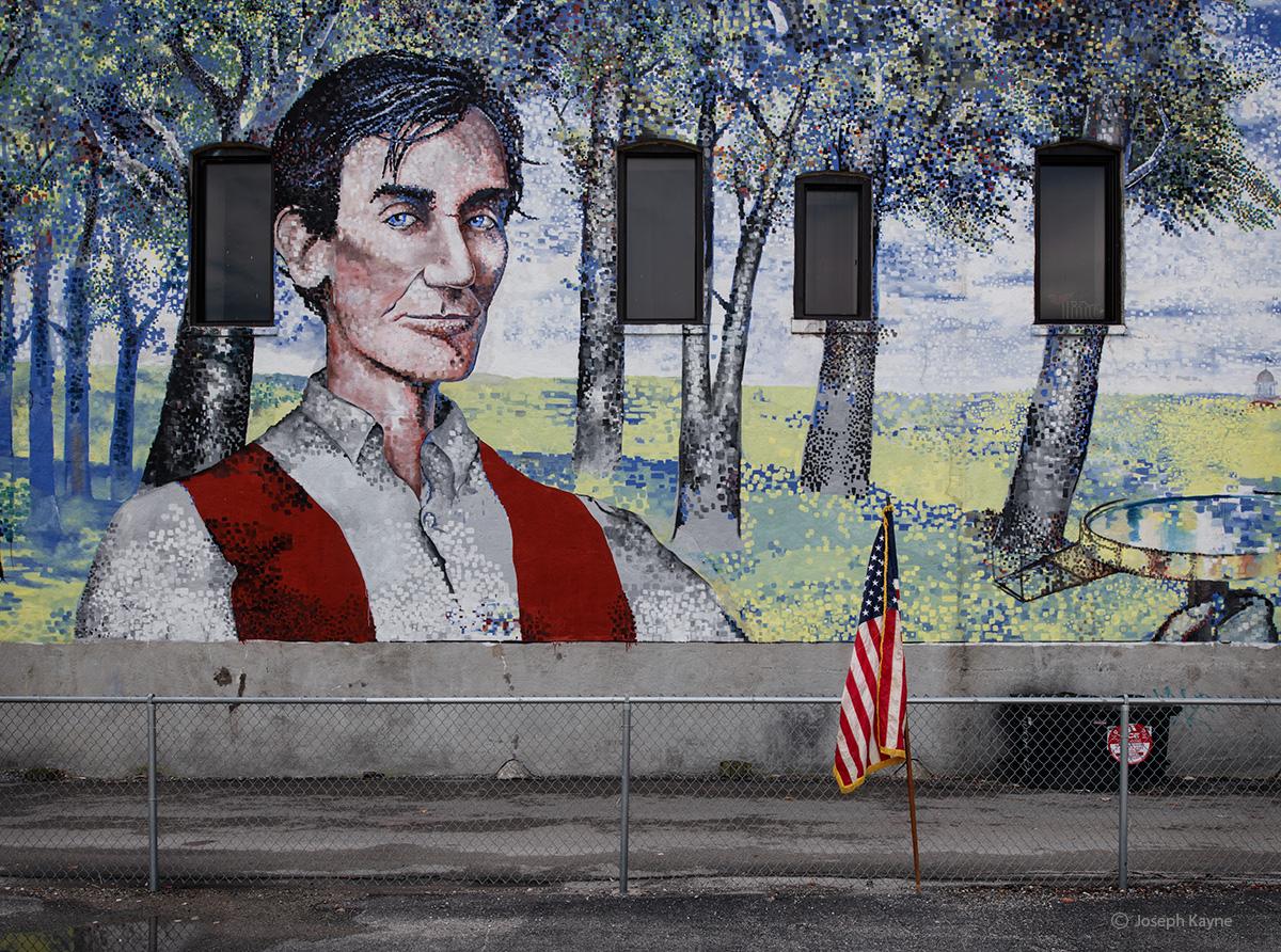 Abraham Lincoln Mural & Flag