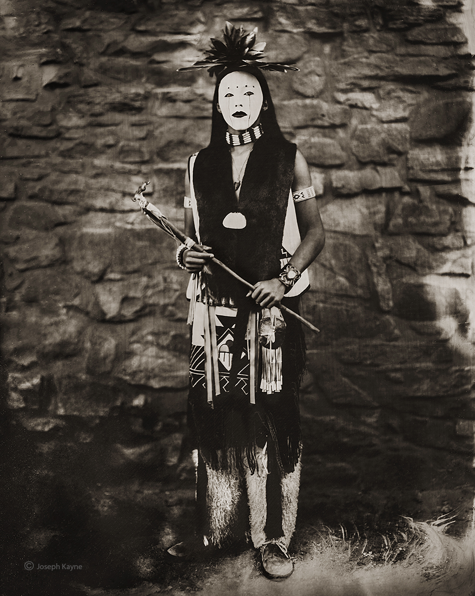Tintype of Lauren Grey HawkOhkay Owingeh PuebloSummer ClanWet Plate Collodion TintypePhoto © copyright by Joseph Kayne