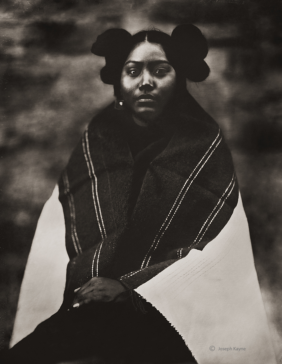 Hopi MaidenSecond MesaCorn ClanWet Plate Collodion TintypePhoto © copyright by Joseph Kayne