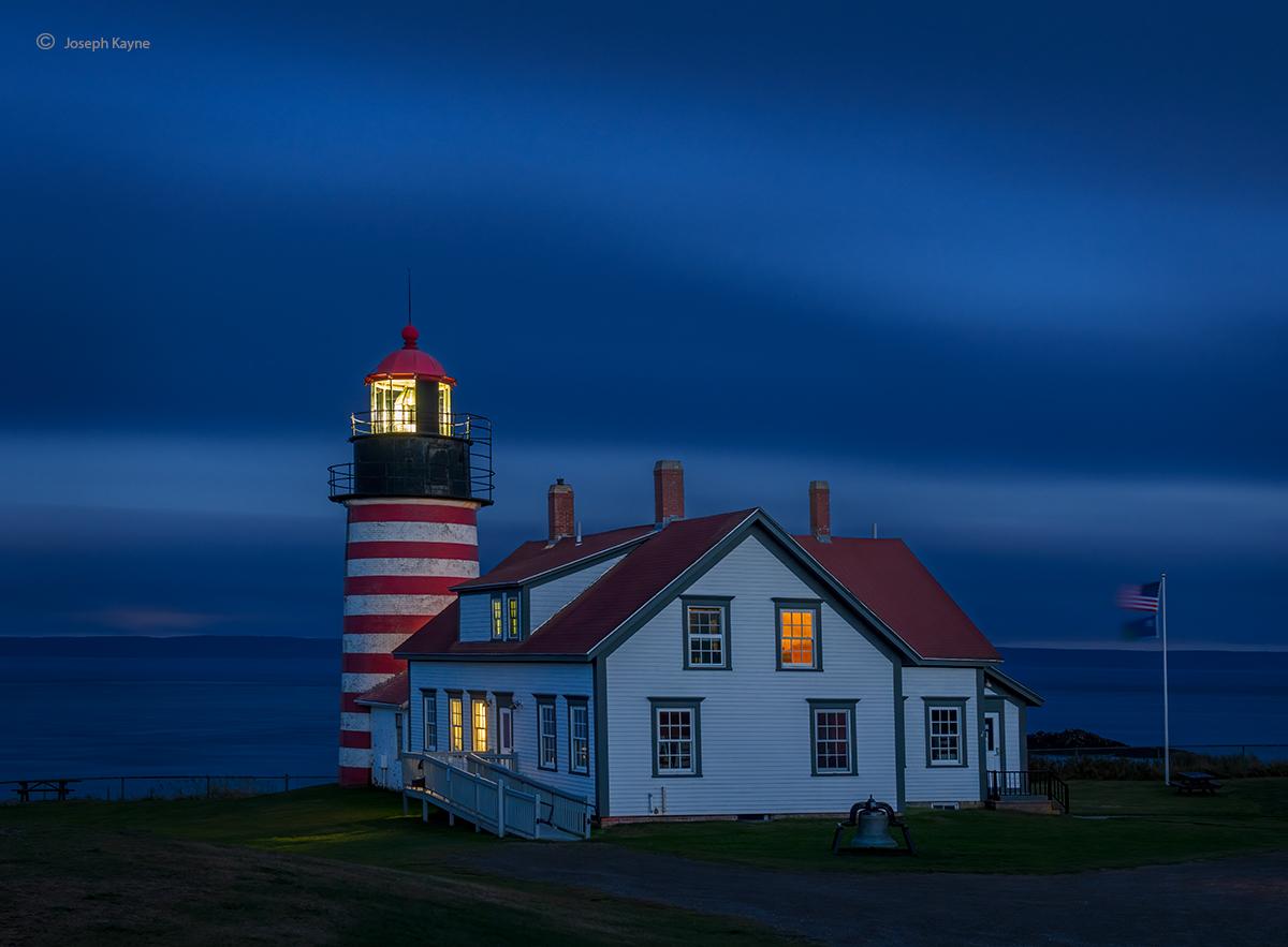 West Quoddy Lighthouse At Night,Maine Coast